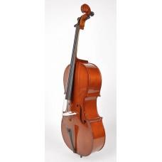 Cello 1/2, gelamineerde body, nitro, palissander toets en stemsleutels, draagtas en strijkstok