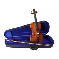 Viool set 1/4, hardhout toebehoren, inclusief koffer, strijkstok, fijnstemmer staartstuk